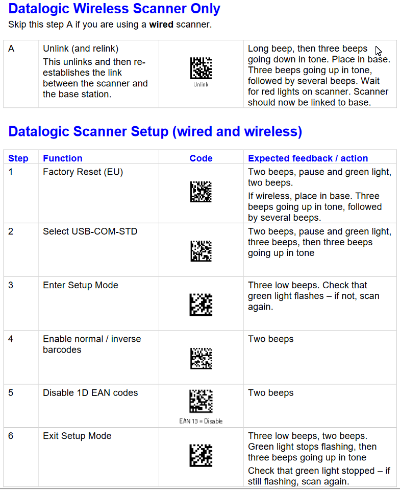 Scanner Setup Sheet